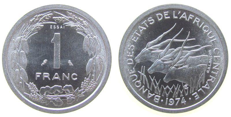 1 Franc 1974 Zentral Afrik. Staaten Al Elenantilopen, Essai, 1550 Ex. stgl