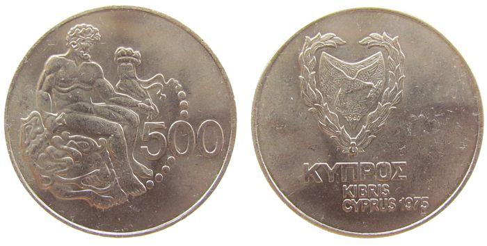 500 Mils 1975 Zypern KN Herkules vz-unc