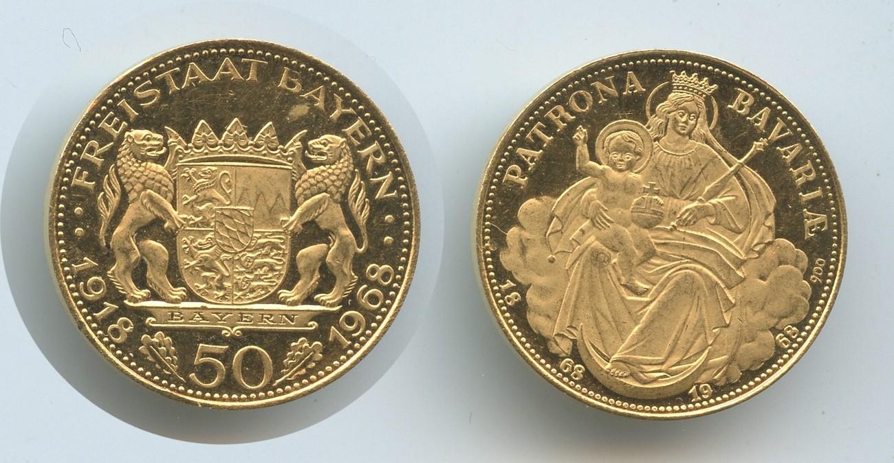 Goldmedaille Freistaad Bayern 1968 1968 Deutschland M3215 Patrona