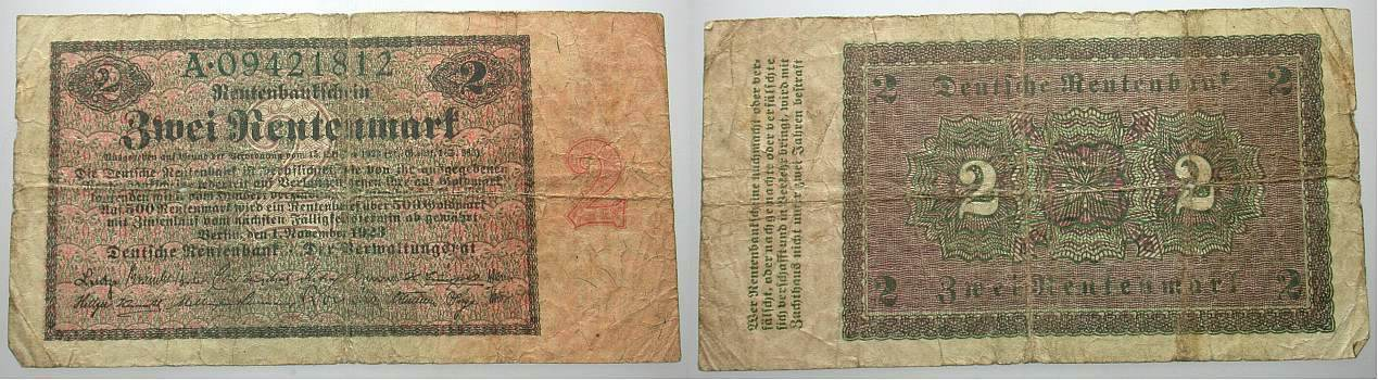2 Rentenmark 1.11.1923 Banknoten nach Rosenberg Deutsche Rentenbank 1923 - 1937 Kl. Einrisse, stärker gebraucht