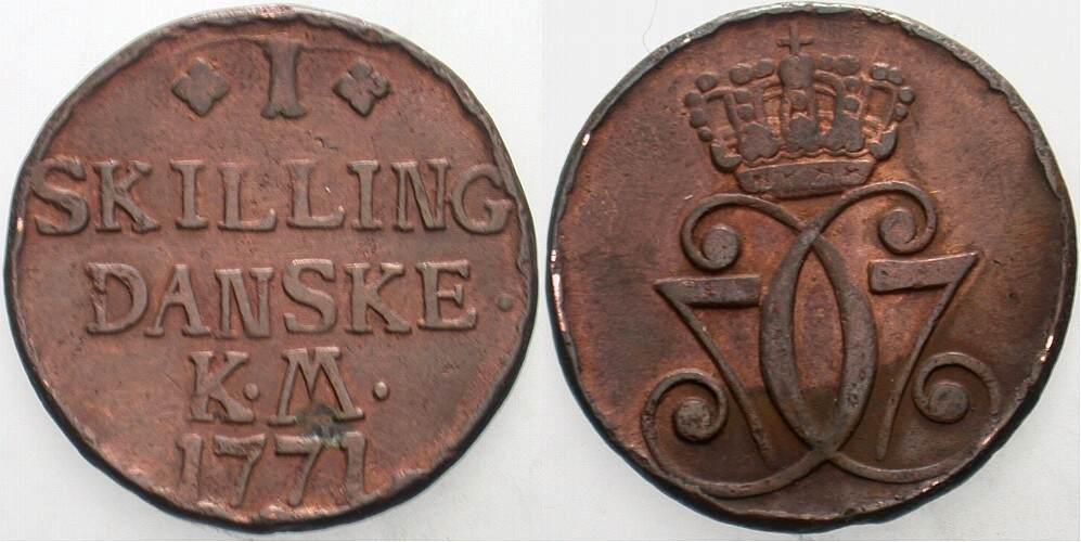 1 Skilling 1771 Kopenhagen oder Alto Dänemark Christian VII. 1766-1808. Fleckig, sehr schön - vorzüglich