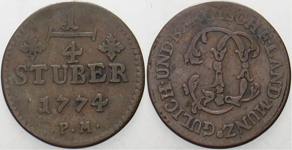 1/4 Stüber 1774 Jülich-Berg Karl Theodor 1742-1799. Schön - sehr schön