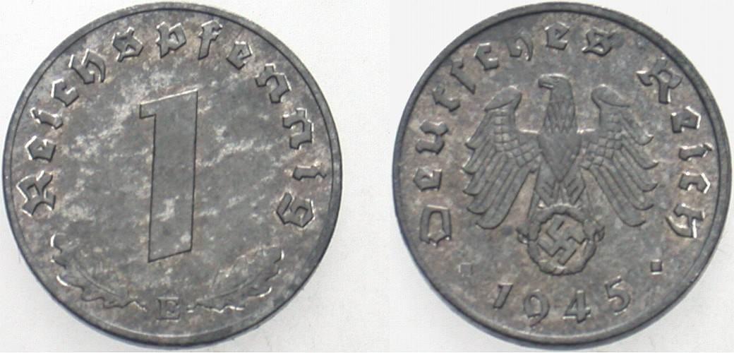 1 Reichspfennig 1945 E  Fleckige Patina, vorzüglich - Stempelglanz