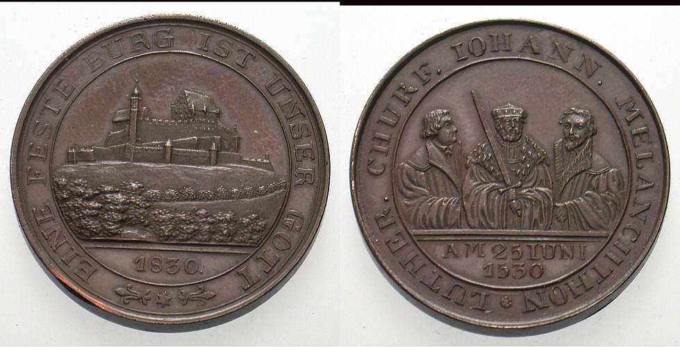 Bronzemedaille 1830 Reformation Winz. Randfehler, Patina, vorzüglich