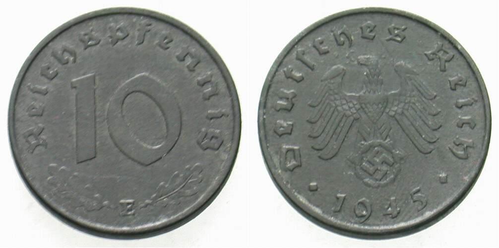 10 Reichspfennig 1945 E  Sehr schön - vorzüglich