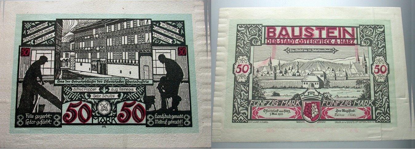 50 Mark 1.5.1922 Notgeld der besonderen Art Osterwiecker Ledergeld 1922/1923 Leicht gebraucht