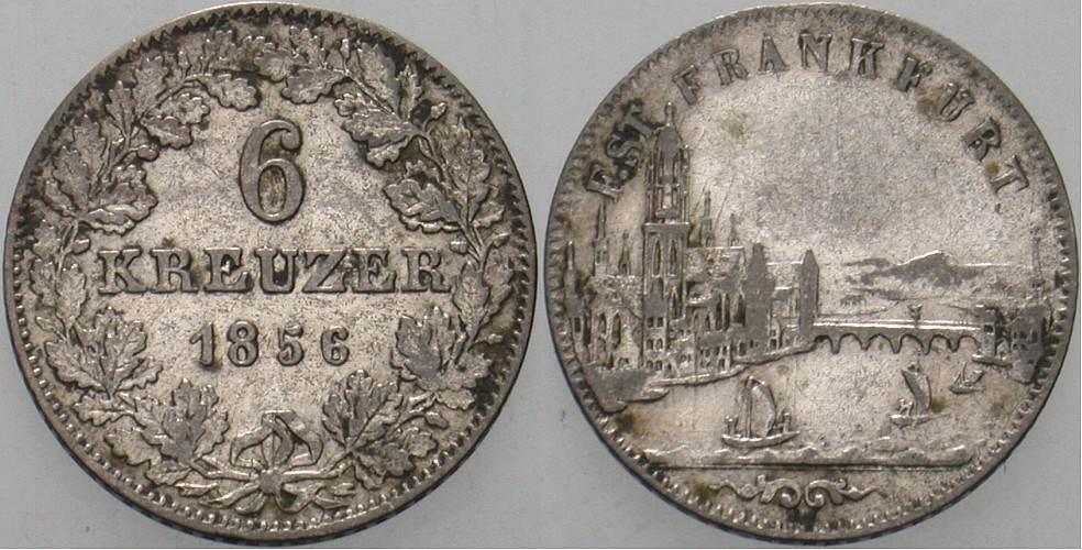 6 Kreuzer 1856 Frankfurt Sehr schön