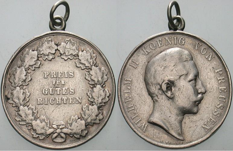 Silberne Richt-Preismedaille zu 4 1/2 Mark o.J. (1890) Brandenburg-Preußen Wilhelm II. 1888-1918. Gehenkelt, Randfehler, schön - sehr schön