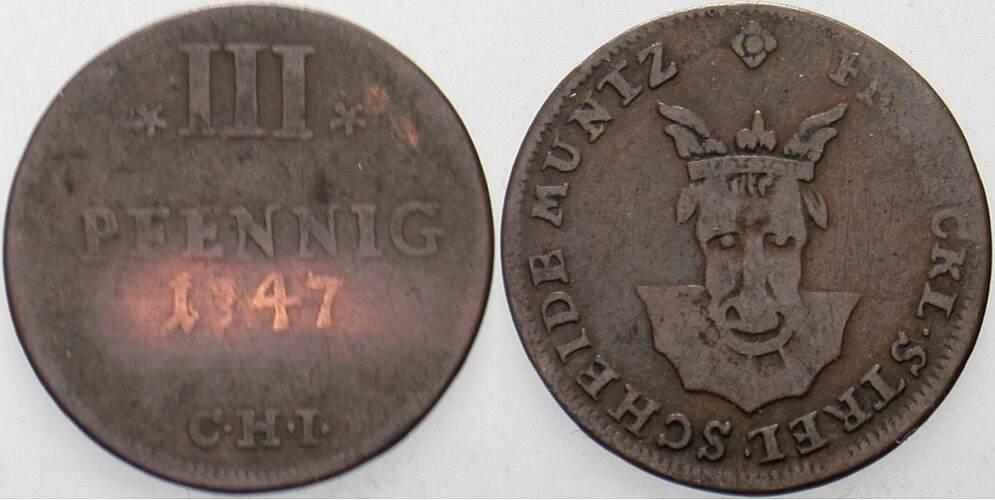 3 Pfennig 1747 CHI Stargard Mecklenburg-Strelitz Adolf Friedrich III. 1708-1752. Schön - sehr schön