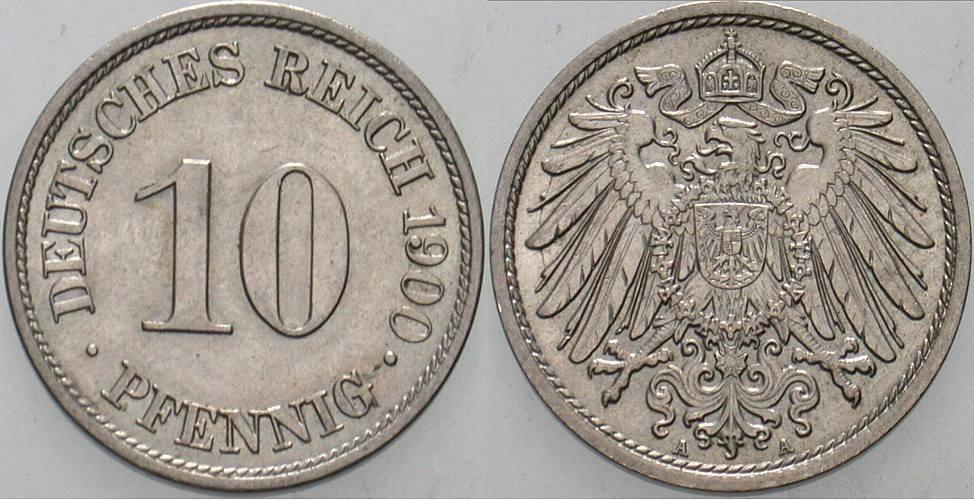 10 Pfennig 1900 A Kleinmünzen Vorzüglich - Stempelglanz