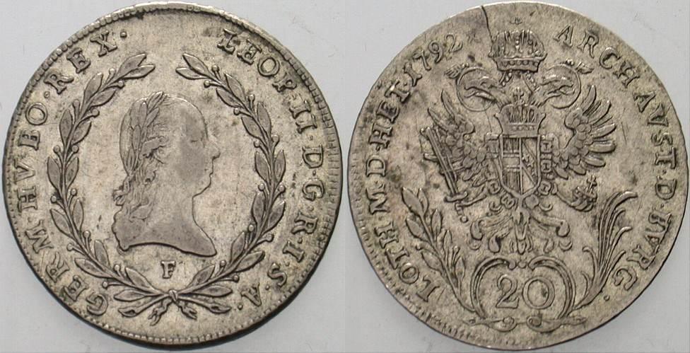 20 Kreuzer 1792 F Haus Habsburg Leopold II. 1790-1792. Sehr schön