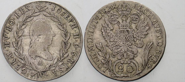 20 Kreuzer 1782 A Haus Habsburg Josef II. 1765-1790. Sehr schön