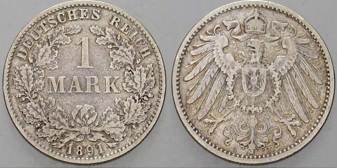 1 Mark 1891 D Kleinmünzen Fast sehr schön