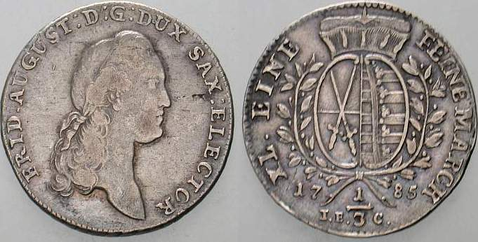 1/3 Taler 1785 IEC-Dresden Sachsen-Albertinische Linie Friedrich August III. 1763-1806. Winz. Schrötlingsfehler, sehr schön