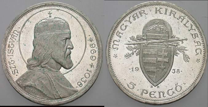 5 Pengo 1939 Ungarn 1926-1945. Patina, vorzüglich