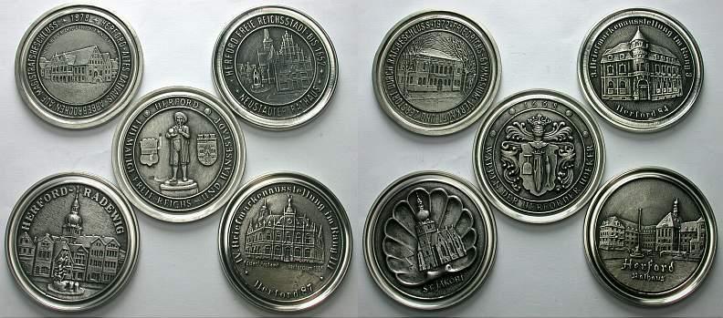 Lot von 5 Zinnguss-Medaillen Herford, Stadt Vorzüglich
