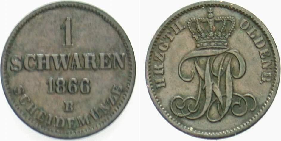 1 Schwaren 1866 Oldenburg Nicolaus Friedrich Peter 1853-1900. Sehr schön