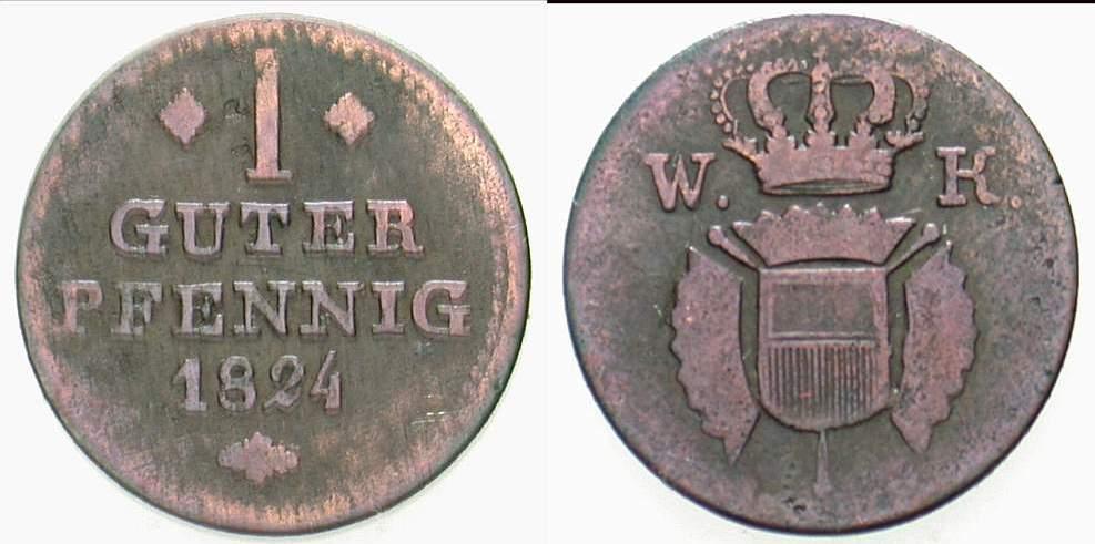 1 Guter Pfennig 1824 Hessen-Kassel Wilhelm I. 1785-1821. Schön - sehr schön