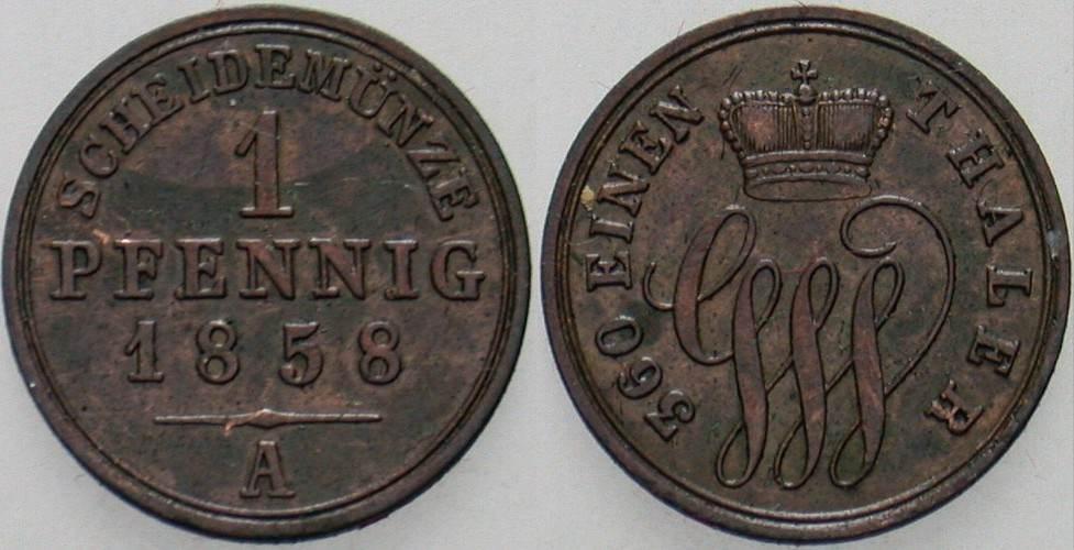 Pfennig 1858 A Schaumburg-Lippe Georg Wilhelm, allein 1807-1860. Fast vorzüglich