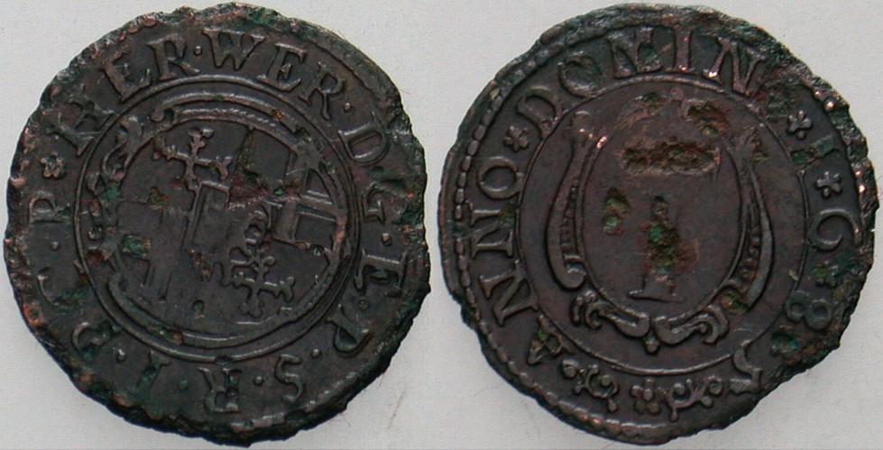 1 1/2 Pfennig 1685 Neuhaus Paderborn, Bistum Hermann Werner von Metternicg 1683-1704. Kl. Randfehler, min. Korrodiert, schön - sehr schön