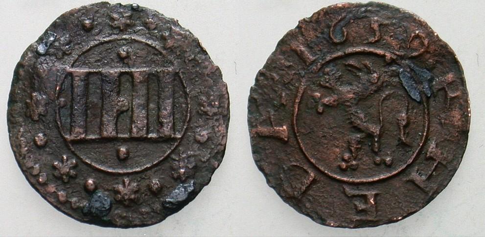 Cu 4 Pfennig 1659 Schloß Tecklenburg Grafschaft Tecklenburg und Herrschaft Rheda Moritz 1623-1674. Sehr schön