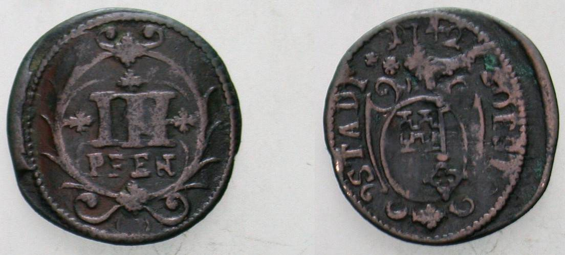 Cu 3 Pfennig 1742 Soest, Stadt Fast sehr schön