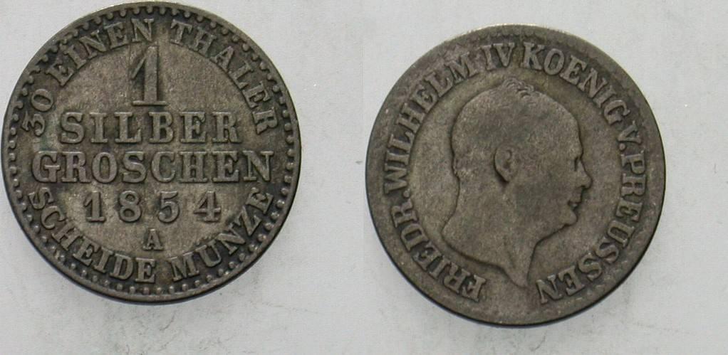 1 Silbergroschen 1854 A Preußen Friedrich Wilhelm IV. 1840-1861. Sehr schön
