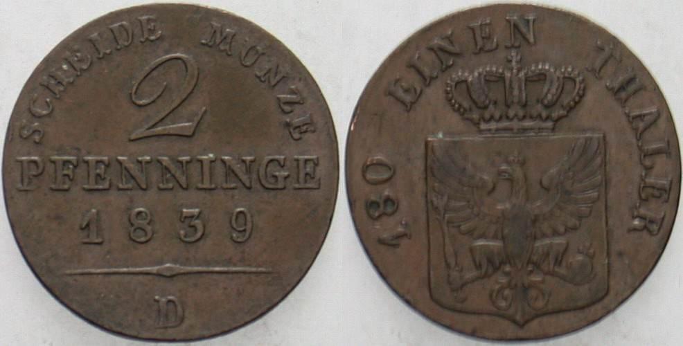 2 Pfennige 1839 D Preußen Friedrich Wilhelm III. 1797-1840. Sehr schön - vorzüglich