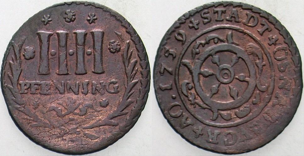 4 Kupferpfennig 1759 Osnabrück-Stadt Patina, sehr schön - vorzüglich