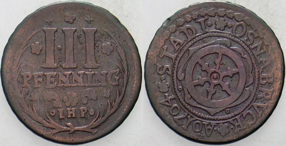 3 Kupferpfennig 1704 Osnabrück-Stadt Sehr schön