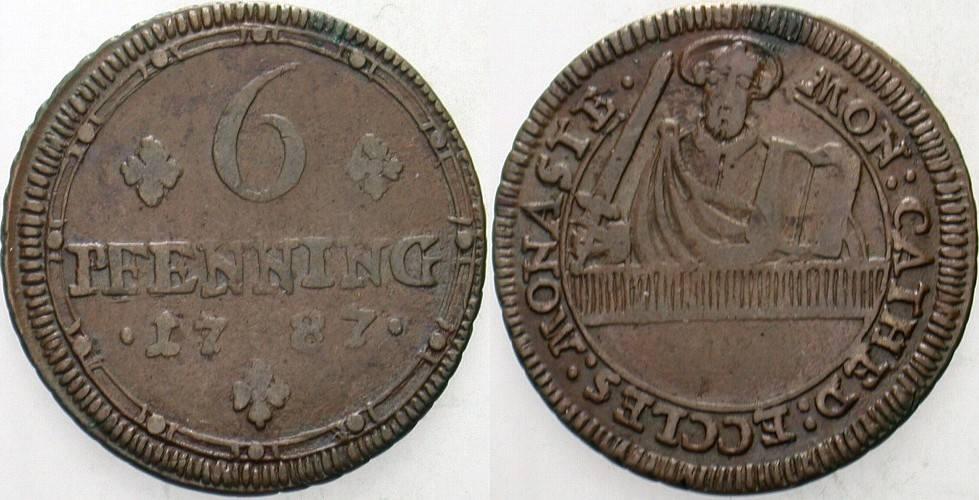 6 Pfennig 1787 Münster-Domkapitel Fast sehr schön