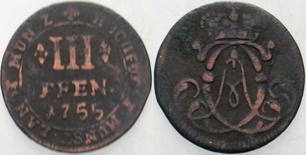 3 Pfennig 1755 Münster Münster-Bistum Clemens August v. Bayern, 1719-1761. Fast sehr schön