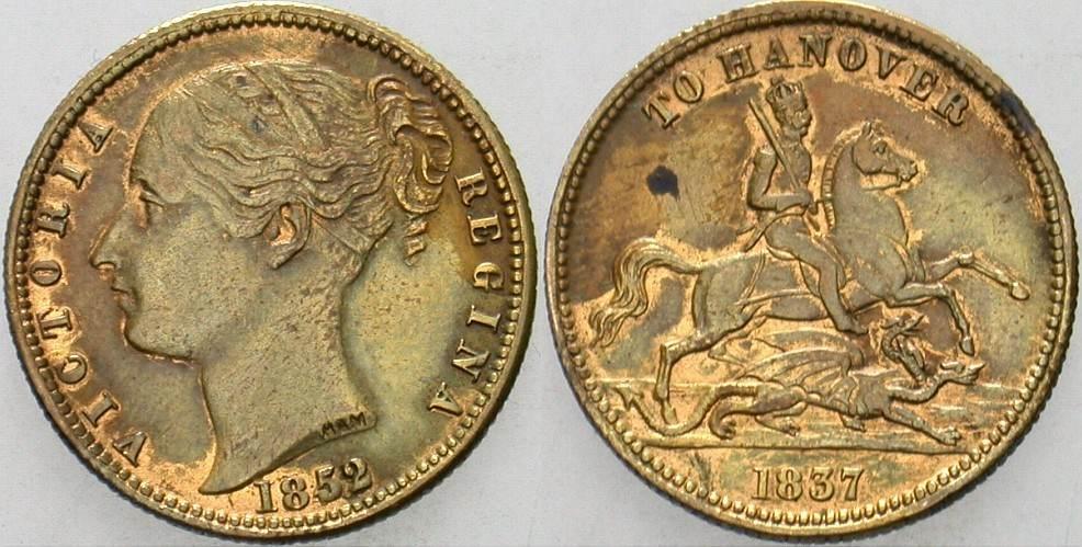 Jeton 1852/1837 Großbritannien Victoria 1837-1901. Patina, Randfehler, sehr schön