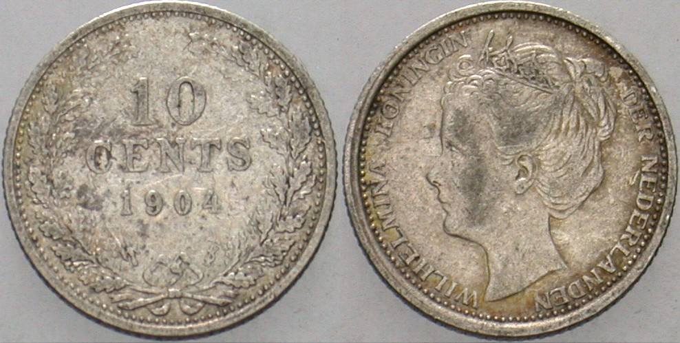 10 Cent 1904 Niederlande-Königreich Wilhelmina I. 1890-1948. Fast sehr schön