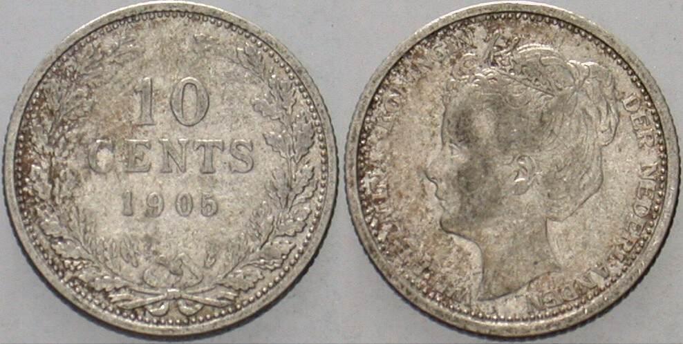 10 Cent 1905 Niederlande-Königreich Wilhelmina I. 1890-1948. Sehr schön
