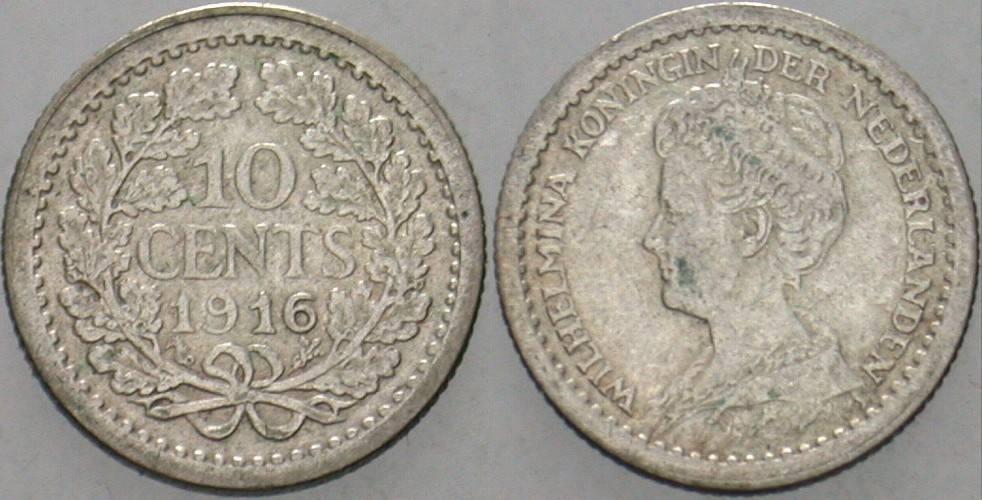 10 Cent 1916 Niederlande-Königreich Wilhelmina I. 1890-1948. Sehr schön