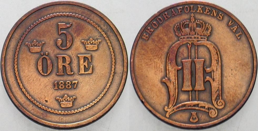5 Öre 1887 Schweden Oskar II. 1872-1907. Sehr schön