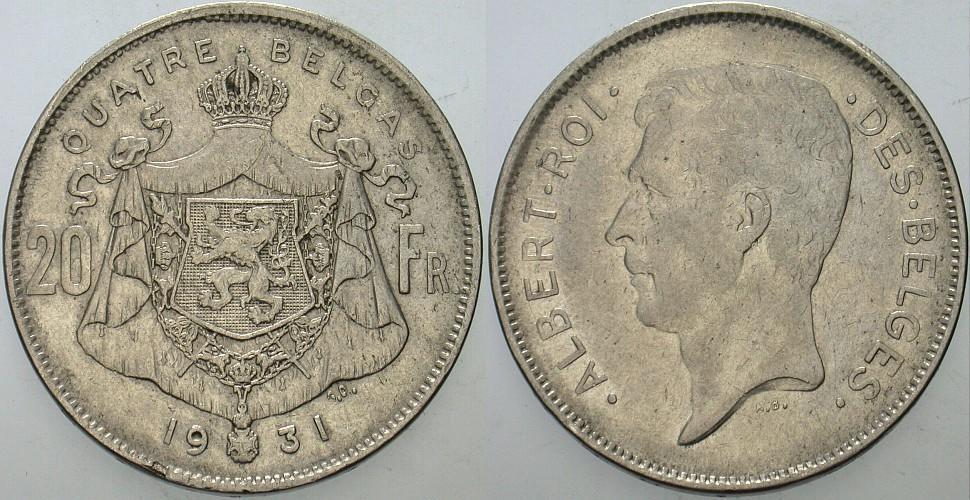 20 Francs 1931 Belgien-Königreich Albert I. 1909-1934. Sehr schön