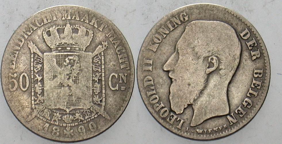 50 Centimes 1899 Belgien-Königreich Leopold II 1865-1909. Schön