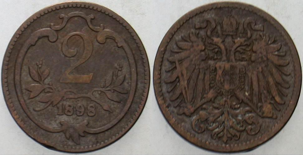 2 Heller 1898 Haus Habsburg Franz Joseph I. 1848-1916. Sehr schön