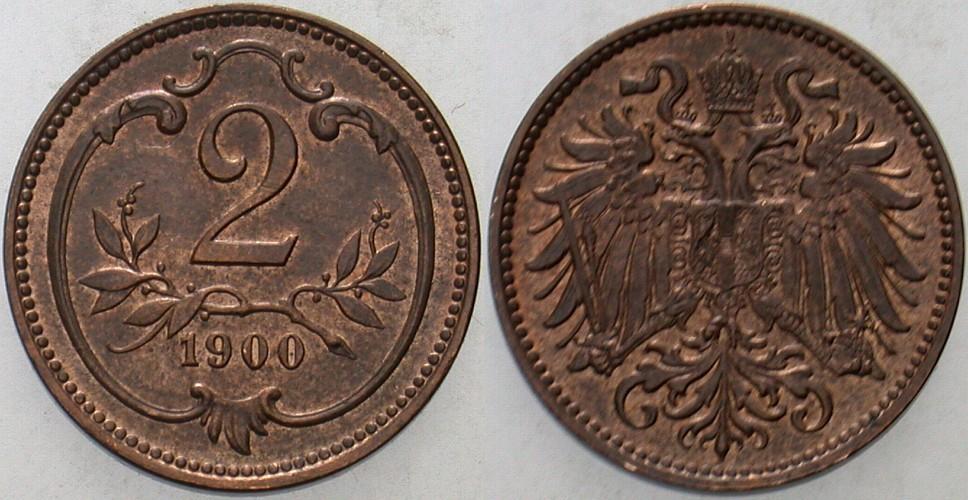 2 Heller 1900 Haus Habsburg Franz Joseph I. 1848-1916. Patina, vorzüglich +