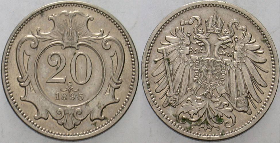 20 Heller 1895 Haus Habsburg Franz Joseph I. 1848-1916. Vorzüglich