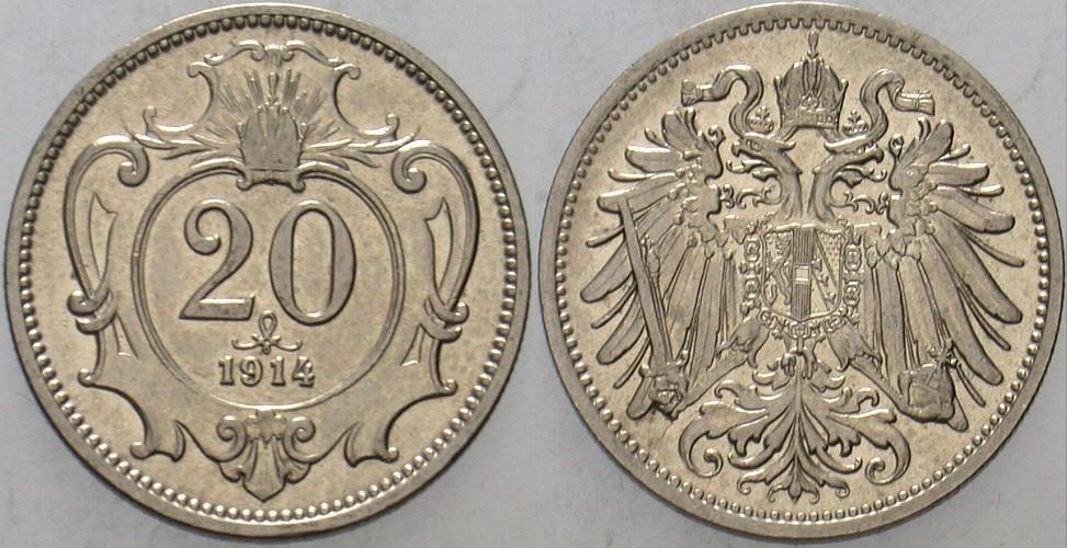 20 Heller 1914 Haus Habsburg Franz Joseph I. 1848-1916. Vorzüglich - Stempelglanz