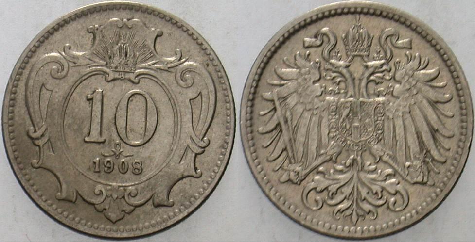 10 Heller 1908 Haus Habsburg Franz Joseph I. 1848-1916 Patina, sehr schön - vorzüglich