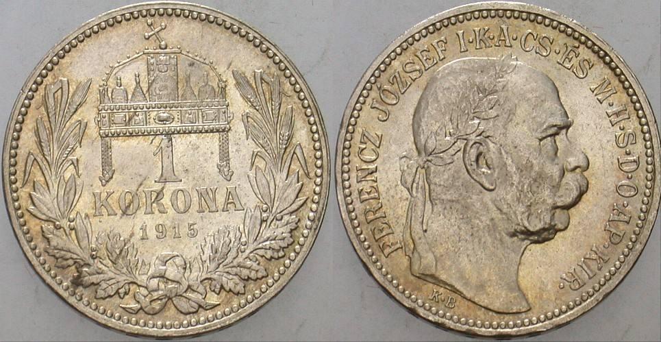 1 Korona 1915 Ungarn Franz Josef I. 1848-1916. Patina, vorzüglich - Stempelglanz