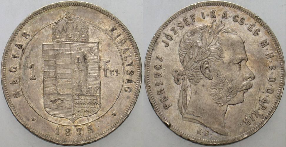 1 Forint 1878 K.B. Ungarn Franz Josef I. 1848-1916. Winz. Randfehler, sehr schön +