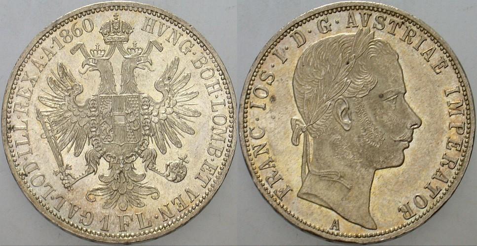 1 Gulden(Florin) 1860 A Haus Habsburg Franz Joseph I. 1848-1916. Patina, vorzüglich - Stempelglanz