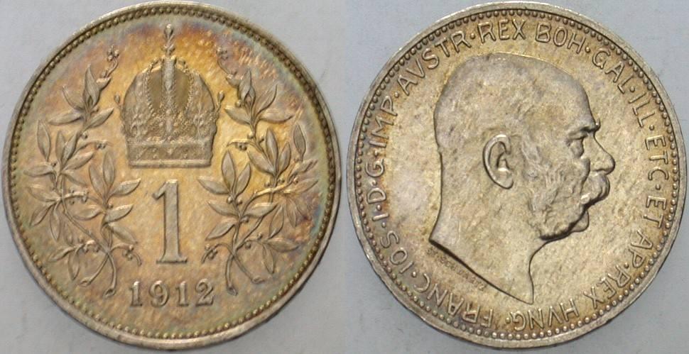 1 Krone 1912 Haus Habsburg Franz Joseph I. 1848-1916. Patina, vorzüglich +