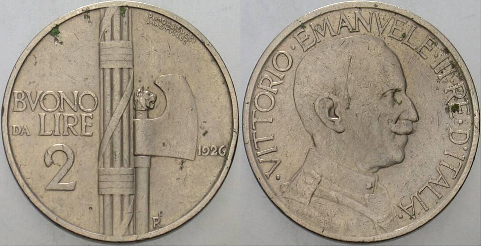2 Lire 1926 Italien-Königreich Vittorio Emanuele III. 1900-1946. Winz. Randfehler, sehr schön