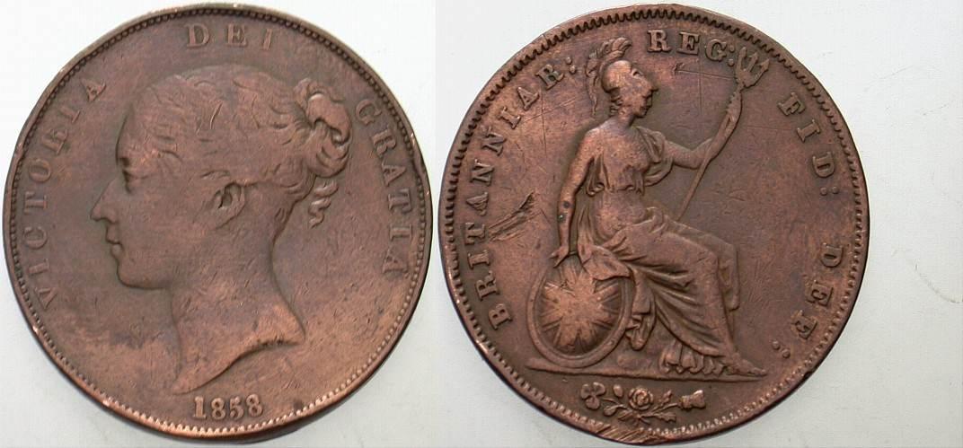 Penny 1858 Großbritannien Victoria 1837-1901. Randfehler, schön - sehr schön